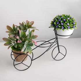 Подставка для цветов Доляна «Велосипед», d=8,3 см, 34,5×10×20,5 см, цвет чёрный