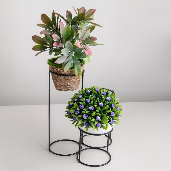 Подставка для цветов Доляна «Каскад», d=8,3см., 18×17×22 см, цвет чёрный - фото 836032