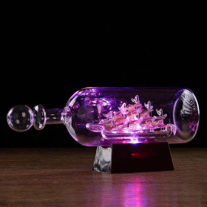Корабль сувенирный в бутылке с золотистыми парусами «Корабль мечты», 10 × 29 × 13,5 см