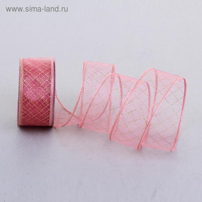 """Лента из органзы с блёстками """"Клетка"""", цвет розовый"""