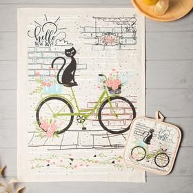 {{photo.Alt || photo.Description || 'Кухонный набор Котик на велосипеде (полотенце 45х60+прихватка 18х18), полулён, 160 г/м2'}}