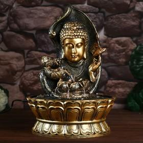 """Фонтан настольный от сети, подсветка """"Будда в фонтане с лотосами"""" 40х28х28 см"""