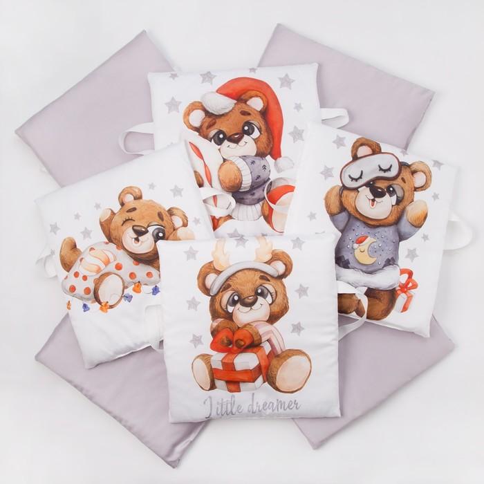 Набор подушек Крошка Я «Мишка» цвет белый/серый 35х35 см -8 шт - фото 105555596