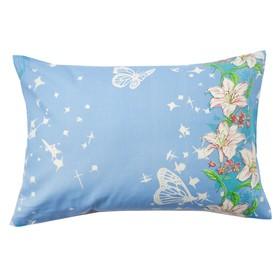 Наволочка Экономь и Я «Цветочный рай», цвет голубой, размер 50х70 см, бязь Ош