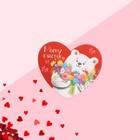 "Postcard-Valentine ""My happiness"" bear 7.1 x 6.1 cm"