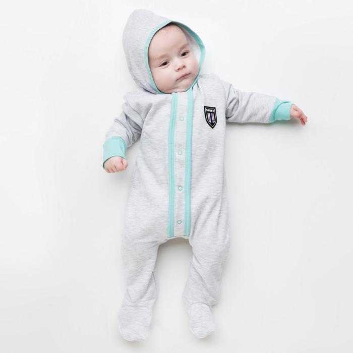 Комбинезон для мальчика, цвет серый/ментоловый, рост 74 см (48) - фото 1957502