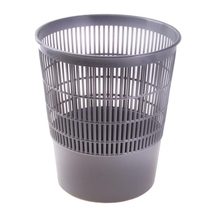 Корзина для бумаг 18 литров, сетчатая, серая, высота 330 мм