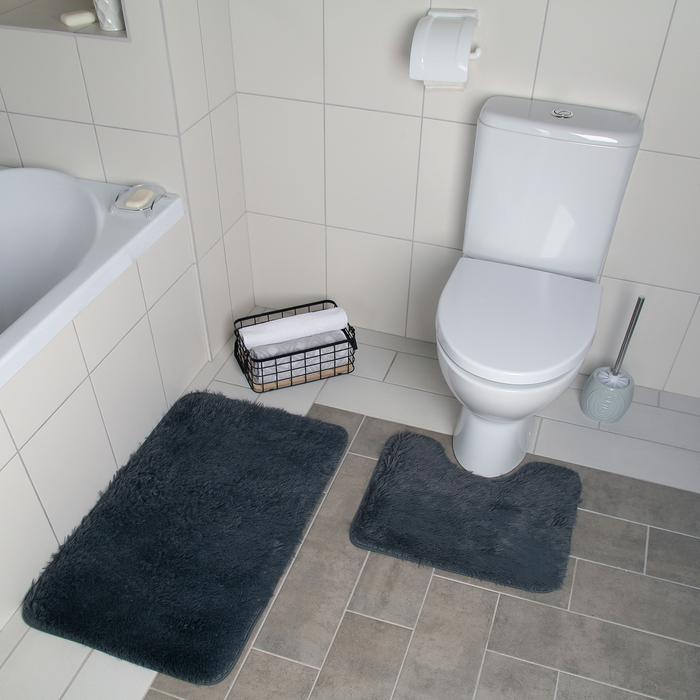 Набор ковриков для ванны и туалета Доляна «Курьёз», 2 шт: 40×50, 50×80 см, цвет серый - фото 7930539
