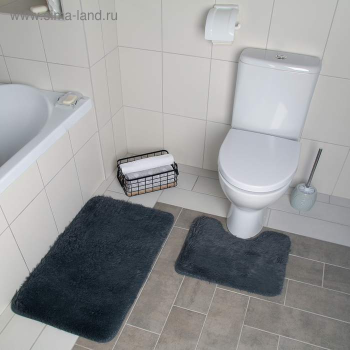 """Set of floor mats for the bath and toilet 2 piece 40 × 50, 50 × 80 cm """"Curiosity"""" color grey"""