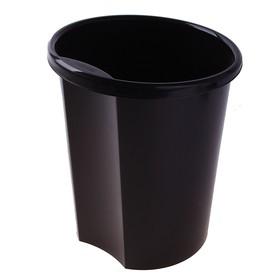 Корзина для бумаг 12 литров, цельная, чёрная, высота 310 мм