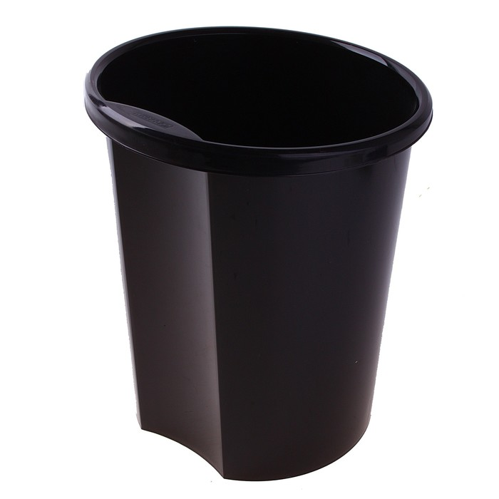 Корзина для бумаг 12 литров, цельная, черная, высота 310 мм