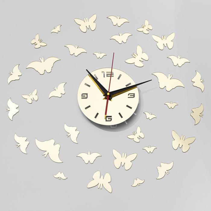 "Часы-наклейка DIY ""Бабочки"" d=15 см, плавный ход, тип батарейки 1 АА (+механизм)"