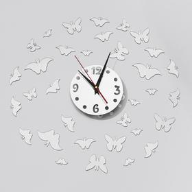 "Часы-наклейка DIY ""Бабочки2"" d=15 см, плавный ход, тип батарейки 1 АА (+механизм)"