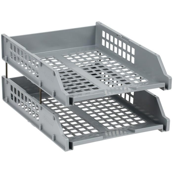 Набор лотков для бумаг горизонтальных 2 штуки STRONG, на металлических стержнях, серые