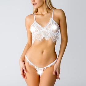 Комплект эротик Rose, размер L, цвет белый