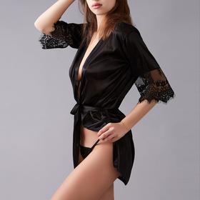Комплект эротик Michelle (пеньюар, трусики), размер универсальный (42-46), цвет чёрный