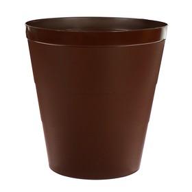 Корзина для бумаг пластик цельная 14л Uni 14л коричневая Ош