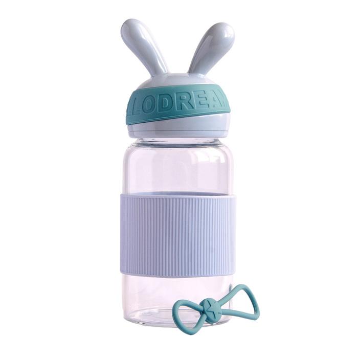 Бутылка для воды «Зайка» 340 мл, цвет серый