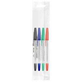 Набор ручек шариковых микс 4 цвета «Стамм», «Оптима», узел 1.0 мм, чернила: синие, красные, зелёные, чёрные, европодвес