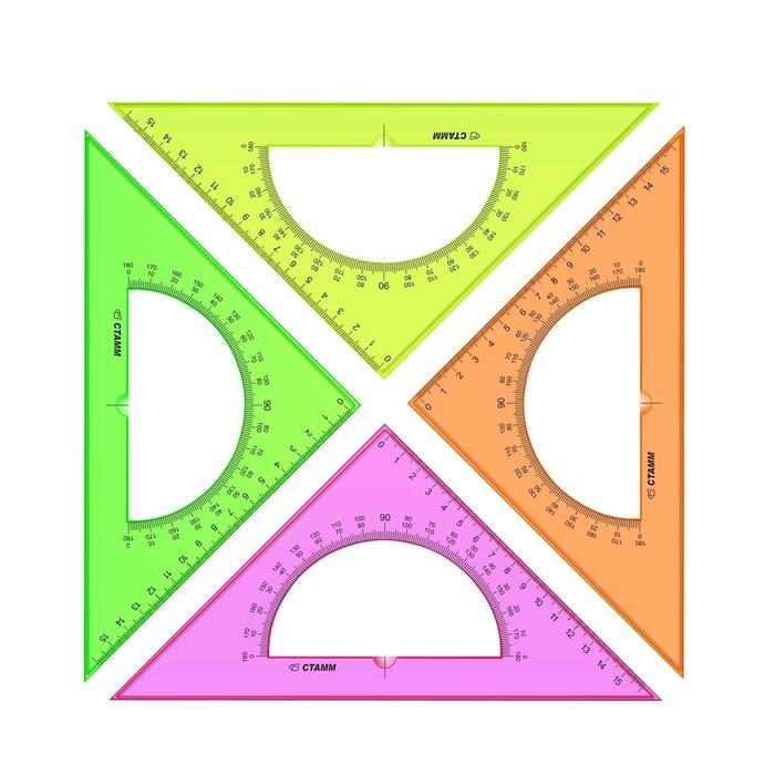 Треугольник c транспортиром 16 см 45* «Стамм» NEON Cristal, микс