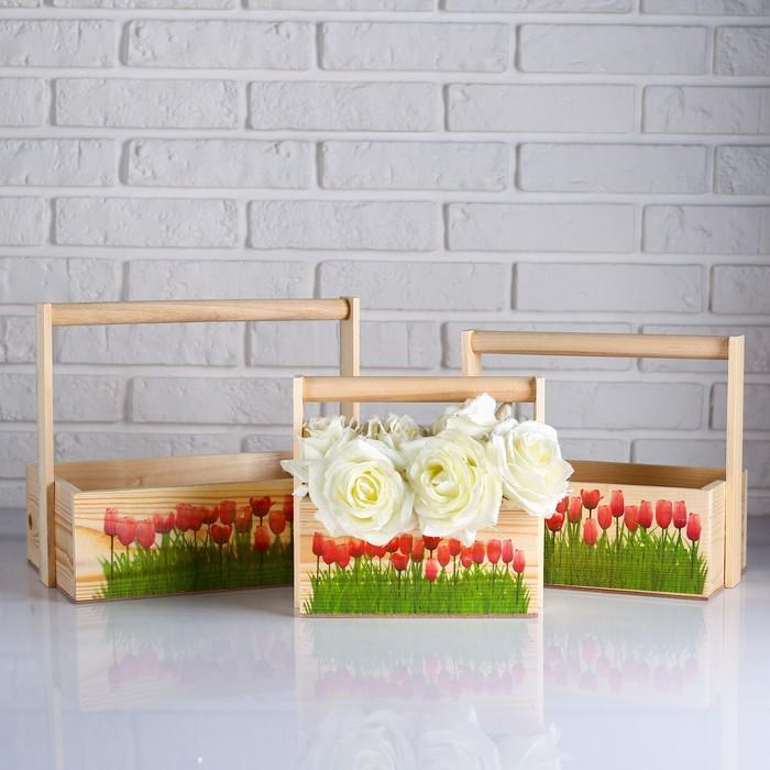 """Набор кашпо деревянных подарочных Капоне """"Розовые тюльпаны"""", 3 в 1, ручка - фото 836111"""