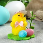 "Souvenir Easter ""Chick in a hat on the lawn with painted eggs"""