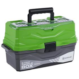 The Tackle Box NISUS tackle box is three-shelved, green.
