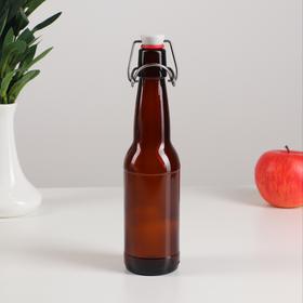 Бутылка бугельная с пробкой 0,33 л, цвет коричневый