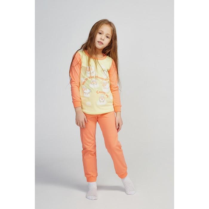 Пижама для девочки, цвет оранжевый/жёлтый, рост 104 см (56)