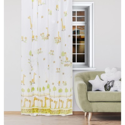 """Tulle """"Ethel"""" 135*270 cm Funny giraffes (white) W/o weighting, 100% p/e"""