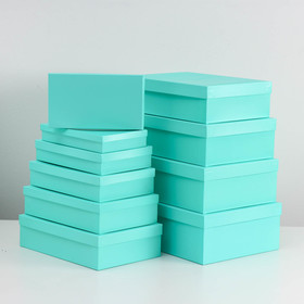 "Set of 10 boxes 1 ""Green"", 36.5 x 26.5 x 12 - 23 x 13 x 3 cm"