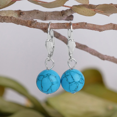 """Earrings silver plated ball No. 10 """"new Turquoise"""""""