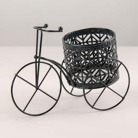 Подставка для цветов Доляна «Велосипед», d=7,5 см, 18×9×10 см, цвет чёрный