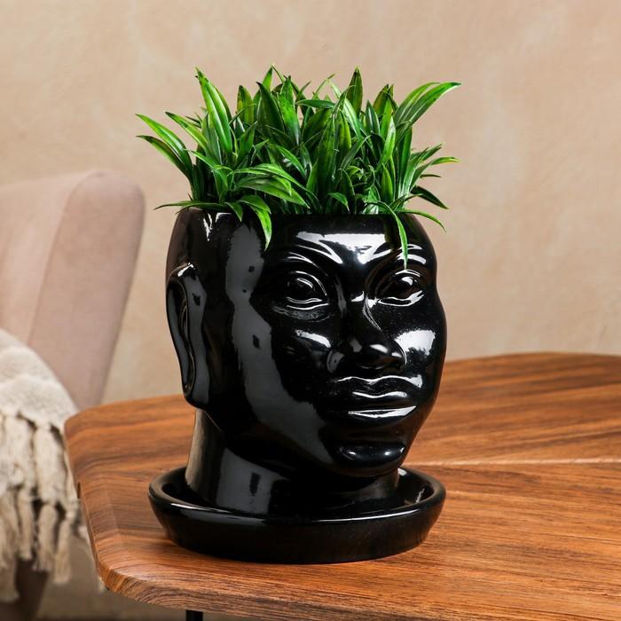 """Кашпо """"Голова африканки"""", глянец, чёрный, 1.4 л"""