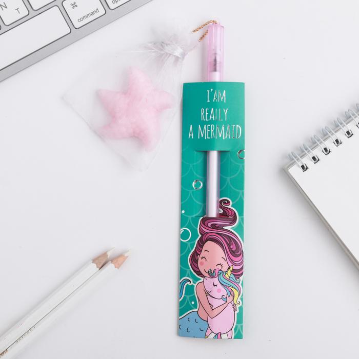 """Ручка с мялкой анти-стресс I""""AM REALLY A MERMAID"""