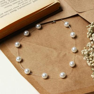 """The beads on the fishing line """"Pearl"""", the ball number 8 color white silver 30cm"""