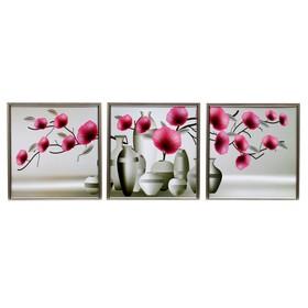 """Модульная картина """"Цветы в вазах"""" 33х35-3шт, 35х100 см"""