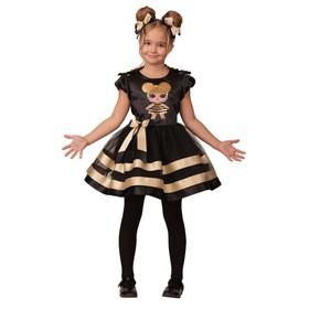 Карнавальный костюм «Золотая пчёлка», платье, ободок с помпонами, р. 26, рост 104 см