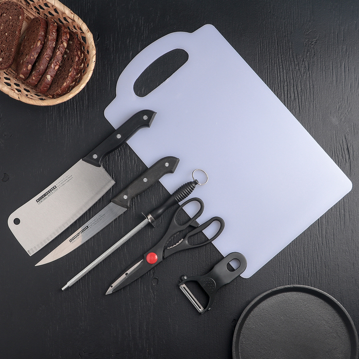 Набор кухонный, 6 предметов: 2 ножа 15,5 см, 18 см, овощечистка, ножницы, разделочная доска, ножеточка - фото 179942
