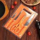 Набор кухонный, 5 предметов: 3 ножа 17,5/12,5/7,5 см, ножницы, доска 29х20 см, цвета МИКС