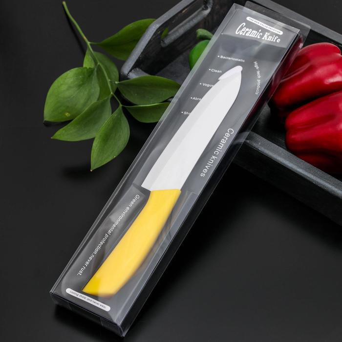 """Нож керамический """"Симпл"""" лезвие 15 см, ручка soft touch, цвета МИКС"""