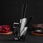 Набор кухонный, 3 предмета на подставке: 2 керамических ножа, лезвия 9,5 см, 15 см, овощечистка