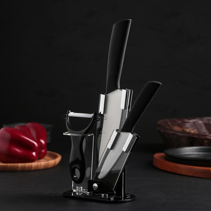 Набор кухонный, на подставке, 3 предмета, цвет чёрный