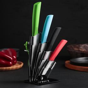 Набор кухонный, 5 предметов: 4 ножа 7 см, 9,5 см, 15 см, 15 см, овощечистка, на подставке, цвет МИКС