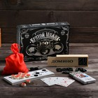 """Gift set 3 in 1 """"tough guy"""" (dominoes, Lotto, cards), black"""