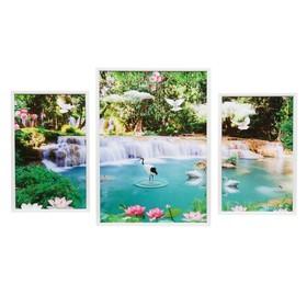 """Модульная картина """"Магический водопад"""" 28х45-2шт, 43х59-1шт, 60х100 см"""