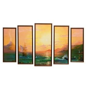 """Модульная картина """"Морской закат"""" 23х59-1шт, 20х53-2шт, 18х47-2шт, 60х100 см"""