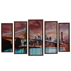 """Модульная картина """"Мост в огоньках"""" 23х59-1шт, 20х53-2шт, 18х47-2шт, 60х100 см"""