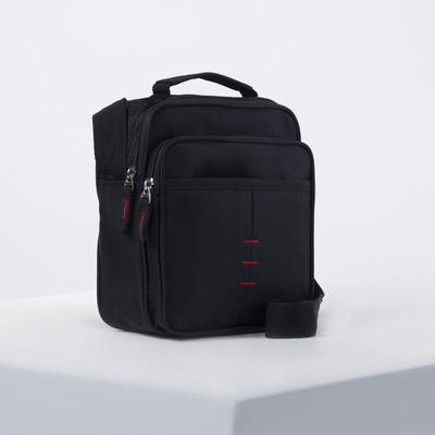 Bag husband Cache 20*9*18, otd zipper, 2 n/ pockets, long strap, black
