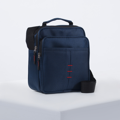 Bag husband Cache 20*9*18, otd zipper, 2 n/ pockets, long strap, blue